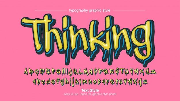 Moderner gelbblauer tropfender grafitti-text