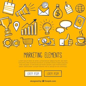 Moderner gelber Hintergrund mit Marketing-Elementen