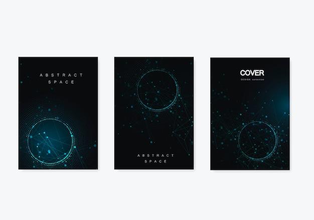 Moderner geometrischer hintergrund mit verbundenen linien und punkten. broschüre für wirtschaft, wissenschaft, medizin und technologie