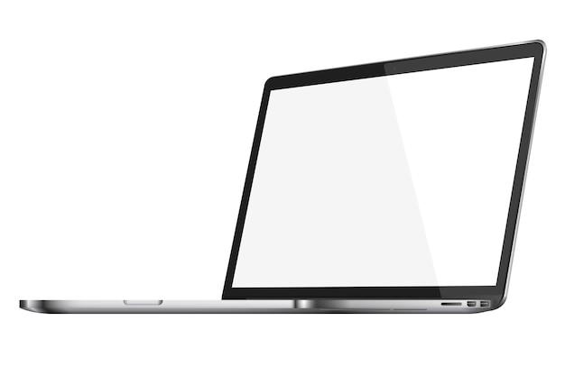 Moderner glänzender laptop mit leerem bildschirm lokalisiert auf weißem hintergrund. Premium Vektoren
