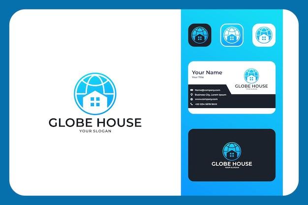 Moderner globus mit hausimmobilien-logo-design und visitenkarte