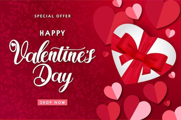 Moderner glücklicher valentinstag-verkauf mit realistischem geschenk