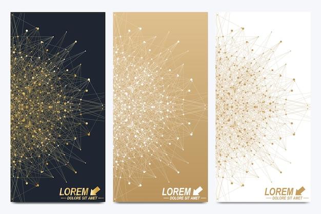 Moderner goldener satz vektorflieger, fahnen. modernes, stilvolles polygonales muster mit verbundenen linien und punkten. molekül- und kommunikationshintergrund für medizin, wissenschaft, technik, chemie.