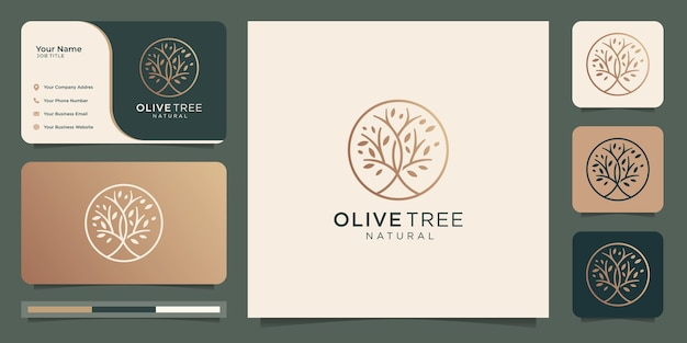 Moderner goldolivenbaum, olivenöl-logoentwurf und visitenkarte.