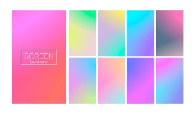 Moderner gradientensatz mit vertikalen abstrakten hintergründen. bunte flüssige abdeckungen für kalender, broschüre, einladung, karten. trendy weiche farbe. vorlage mit modernem verlaufssatz für bildschirme und mobile app