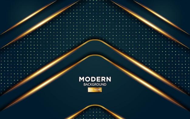 Moderner grüner premium abstrakter vektorhintergrund mit goldenen lichtlinien in punktbeschaffenheit.