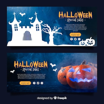 Moderner halloween-netzverkaufs-fahnensatz