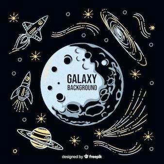 Moderner hand gezeichneter galaxiehintergrund