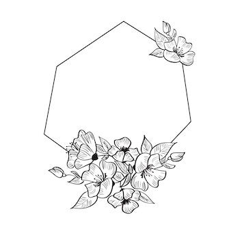 Moderner hand gezeichneter geometrierahmen stilisiert für karte mit blumen und blättern.