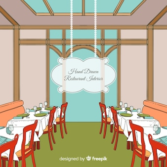 Moderner hand gezeichneter restaurantinnenraum