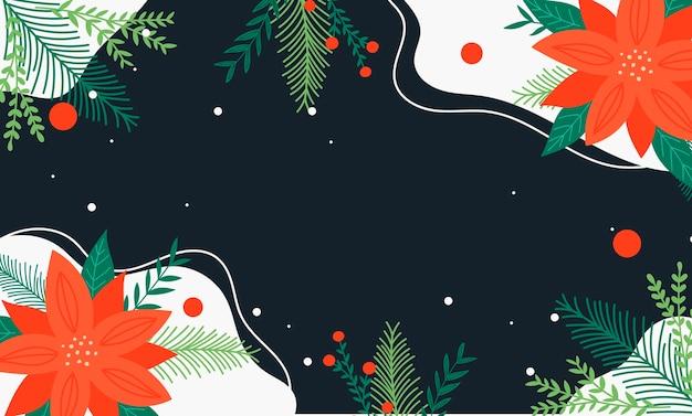 Moderner hand gezeichneter weihnachtshintergrund mit grünen und roten weihnachtsstern-blumenelementen.