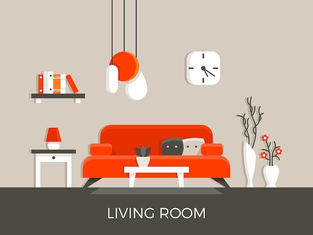 Moderner hauptwohnzimmerinnenraum