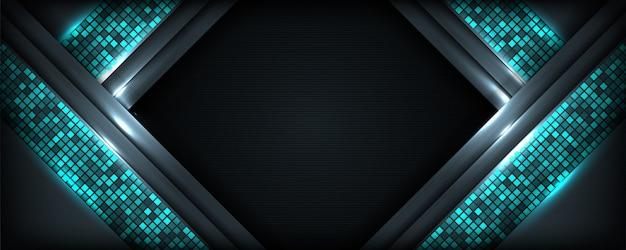 Moderner hellblauer mähdrescher mit dunklem fahnenhintergrund