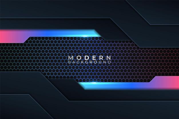 Moderner hintergrund futuristisch bunt überlappte schicht glow neon mit dunklem hexagon-effekt
