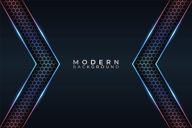 Moderner hintergrund futuristische technologie buntes glühen neon mit dunklem hexagon-effekt