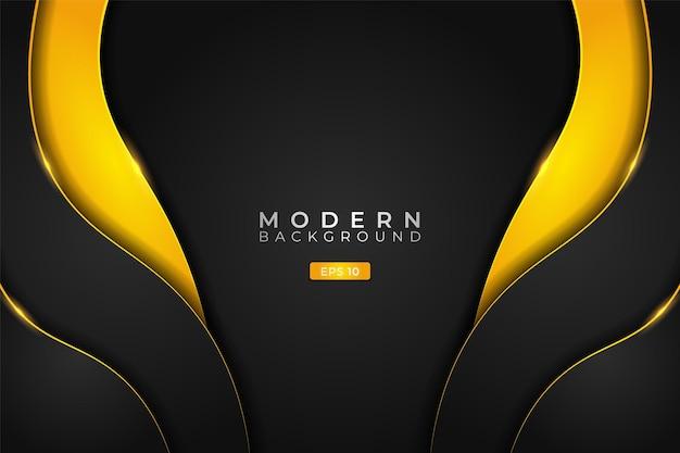 Moderner hintergrund futuristische technologie dynamisches überlappendes leuchten gelb