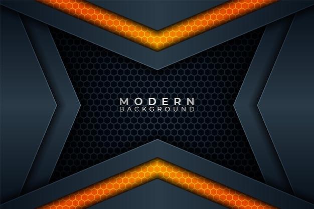 Moderner hintergrund futuristische technologie überlappendes hexagon glow orange