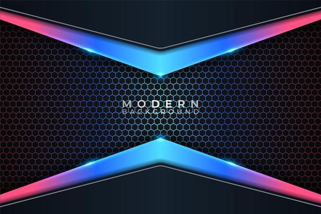 Moderner hintergrund futuristisches buntes glühen neon mit dunklem hexagon-effekt