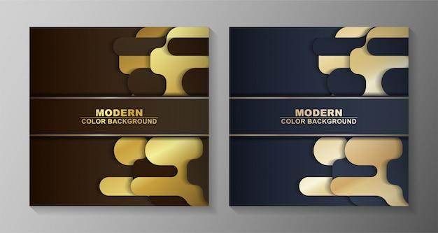 Moderner hintergrund in goldfarbe mit abstrakten formen