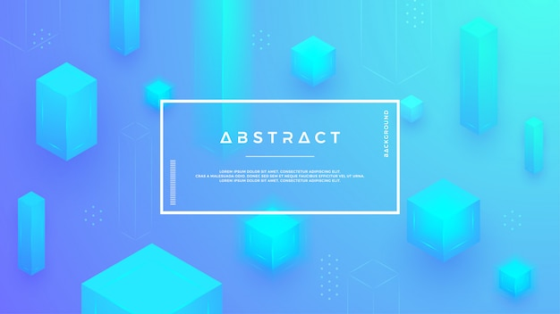 Moderner hintergrund mit einer kombination von abstrakten blauen würfeln.