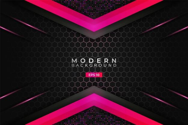 Moderner hintergrund premium overlapped 3d hexagon technology leuchtender farbverlauf pink metallic mit glitzer