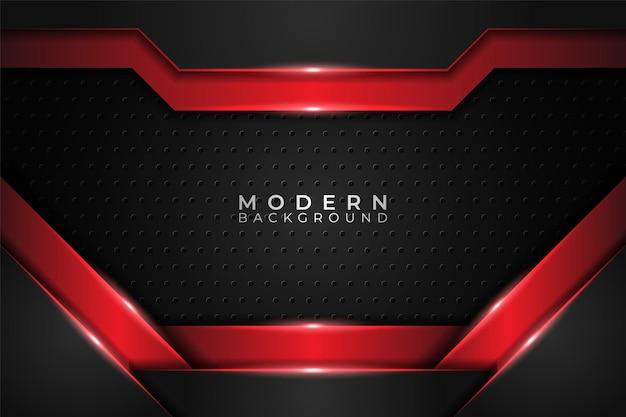 Moderner hintergrund realistisch glänzend metallisch überlappt rot und dunkel