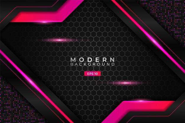 Moderner hintergrund realistische technologie diagonal leuchtender farbverlauf pink metallic mit hexagon-muster
