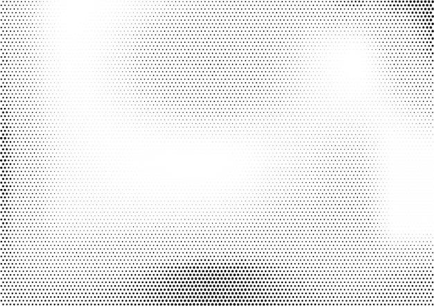 Moderner horizontaler monochromer halbtonhintergrund mit ungleichmäßig verteilten punkten unterschiedlicher größe.