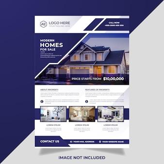 Moderner immobilienflieger mit blauen geometrischen formen