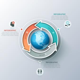 Moderner infographic entwurf mit 3 beschrifteten pfeilen, die um planeten, ikonen und textboxen sich verdrehen