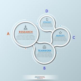 Moderner infographic plan mit vier verbundenen kreisförmigen beschrifteten elementen