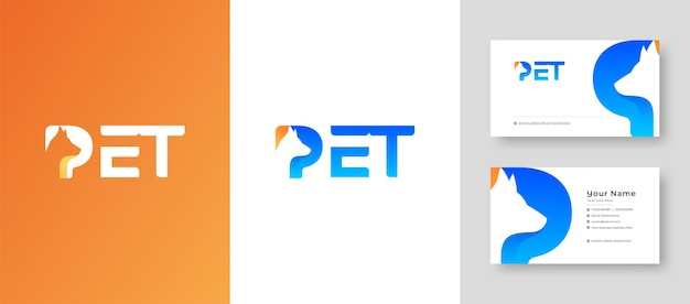 Moderner initialschriftzug mark p buchstabe mit hund katze und tier mit premium-visitenkarte