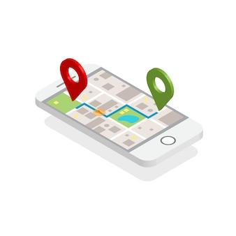 Moderner isometrischer stadtplan-navigations-smartphone