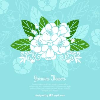 Moderner jasminhintergrund mit flachem design