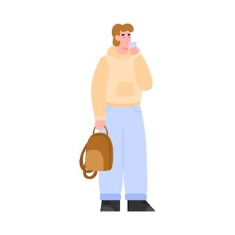 Moderner junger mann in freizeitkleidung trinkwasser aus plastikglas, flache vektorgrafik isoliert auf weißem hintergrund. rehydrierung des körpers und wiederherstellung des wasserhaushalts.