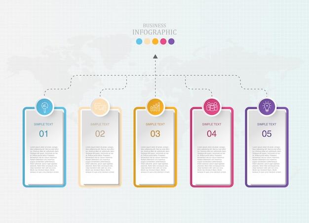 Moderner kasten infographics und ikonen für anwesendes geschäft.
