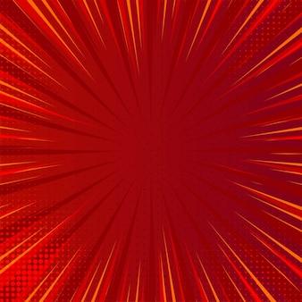Moderner komischer roter hintergrund mit explodierenden strahlen