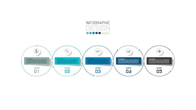 Moderner kreis 5 schritte. infografik design.