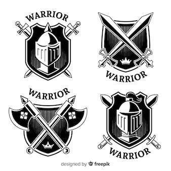 Moderner Krieger trägt Logosammlung zur Schau