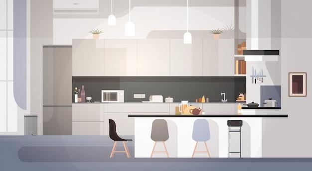 Moderner küchen-innenraum leer kein leute-haus-raum