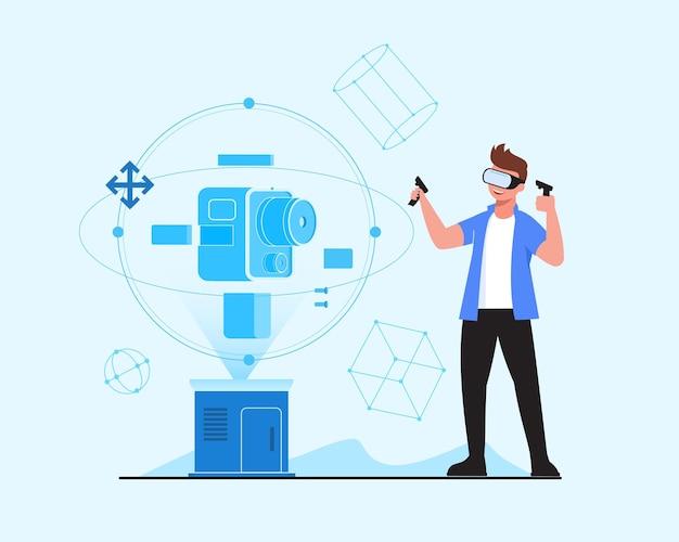Moderner künstler modelliert 3d-modell mit vr-simulationsbrille