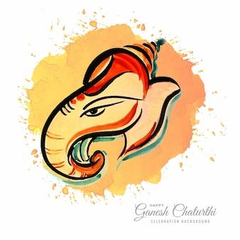 Moderner künstlerischer glücklicher ganesh chaturthi festivalkartenhintergrund