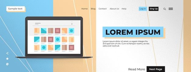 Moderner laptop mit farbigem bildschirm realistische modell gadgets und geräte konzept kopie raum horizontale vektor-illustration
