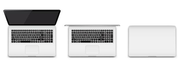Moderner laptop vollständig geöffnet, teilweise geöffnet und geschlossen