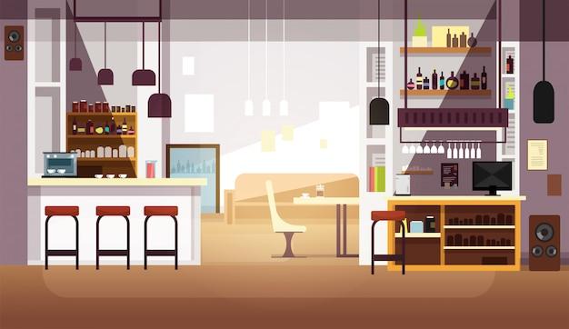Moderner leerer flacher innenraum der bar oder der kaffeestube
