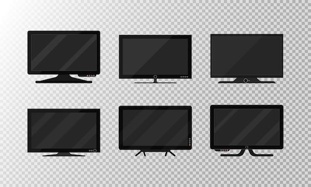 Moderner leerer lcd-tv-digitalbildschirm, display, panel. tv-plasma-isolat auf weißem hintergrund. großer modellcomputermonitor.