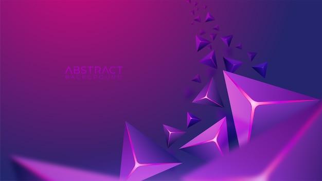 Moderner lila hintergrund mit fliegender geometrischer form