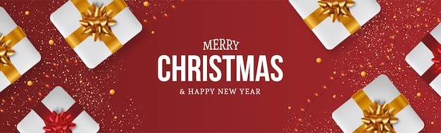 Moderner merry christmas banner hintergrund mit realistischer weihnachtsgeschenkzusammensetzung