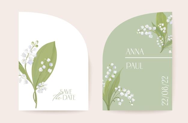 Moderner minimaler art-deco-hochzeitsvektor einladungssatz. boho lilie blumenkartenvorlage. frühlingspastellblumenplakat, blumenrahmen. save the date trendiges design, luxusbroschüre