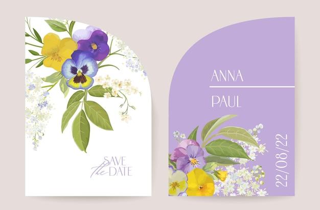 Moderner minimaler art-deco-hochzeitsvektor einladungssatz. boho violette stiefmütterchen-violett-kartenvorlage. frühlingsblumenplakat, blumenrahmen. save the date trendiges design, luxusbroschüre